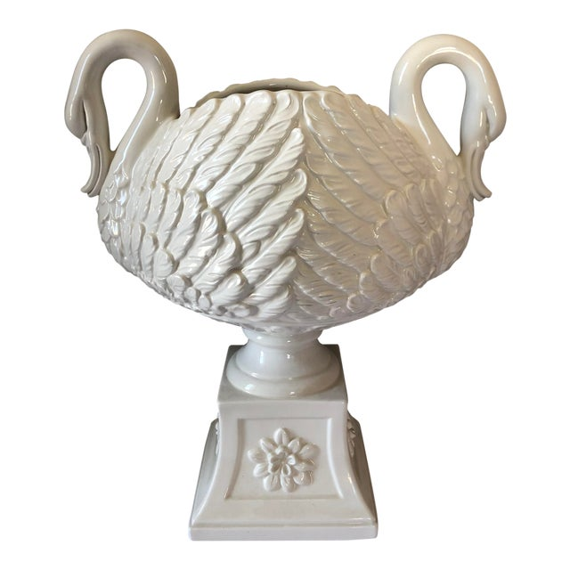 Vintage White Italian Pottery Swan Urn Centerpiece For Sale