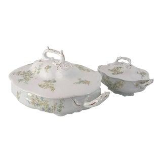 Antique Floral Bone China Lidded Serving Bowls - A Pair For Sale