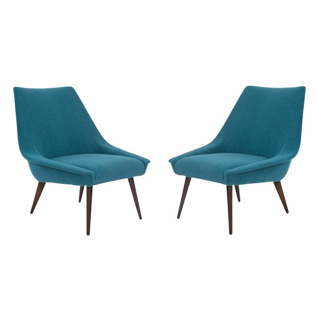 Pair of Sculptural Upholstered Lounge Chairs For Sale