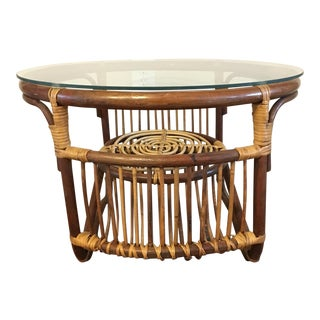 Vintage 2 Toned Rattan Side Table Round Glassed Top Accent Table Cocktail Table For Sale