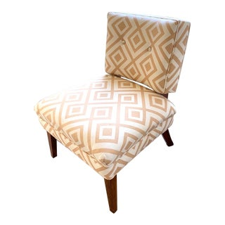 "Mid-Century Modern Slipper Chair in David Hicks ""La Fiorentina"" Fabric For Sale"