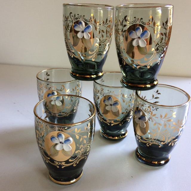 Vintage Gold & Blue Bohemian Decanter and 6 Glasses Set For Sale In Sacramento - Image 6 of 11