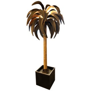 Maison Jansen, Tall Palm Tree Floor Lamp, Paris, Circa 1960s For Sale