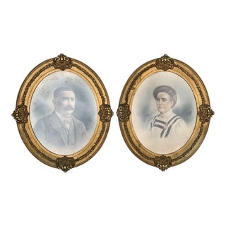 20th Century Vicotrian Male & Female Portraiture Sketches in Gilded Victorian Oval Glass Frames For Sale