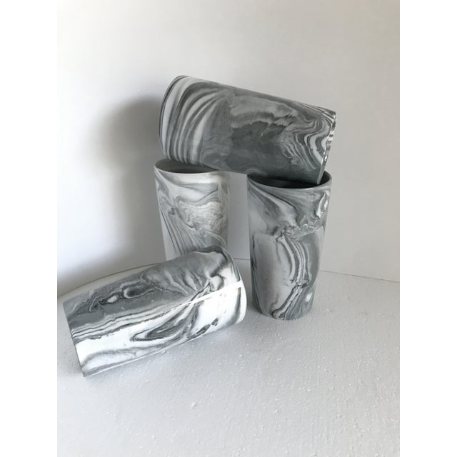 White Ceramic Marbleized Tumblers -Set of 4 For Sale - Image 8 of 13