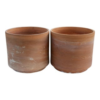 1960s Gainey-Style Sgraffito Oversize Terra Cotta Planters, a Pair For Sale