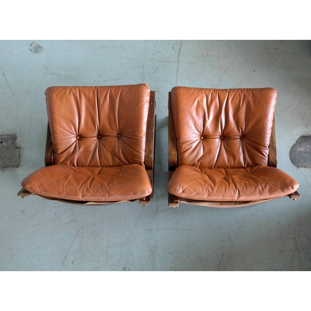 Pair of Midcentury Norwegian Easy Chairs in Cognac Leather by Oddvin Rykken For Sale - Image 9 of 10