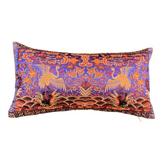 Hollywood Regency Blue & Gold Silk Embroidered Chinoiserie Boudoir Lumbar Pillow For Sale