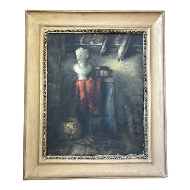 1950s Vintage Still Life with Marble Bust Framed Oil Painting For Sale