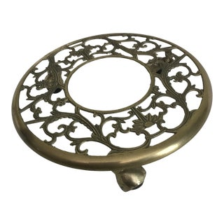 Vintage Solid Brass Rolling Planter Holder For Sale