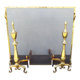 1940s Antique Brass Fireplace Screen & Andirons - 3 Pieces For Sale