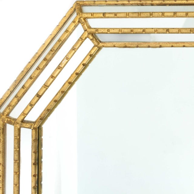 Hollywood Regency Labarge Gold Faux Bamboo Mirror For Sale - Image 3 of 5