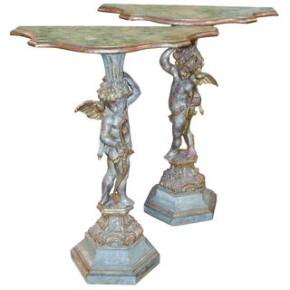 19th Century Pair of Italian Polychrome Side Tables For Sale