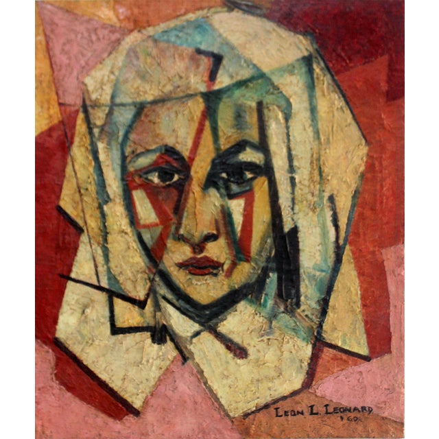 """1960s """"The Nun"""" Encaustic Painting 1960 by Leon Lank Leonard For Sale - Image 5 of 5"""