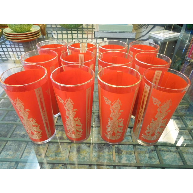 """1950s Set of 12 """"Thai Princess"""" Mid-Century Cocktail Glasses For Sale - Image 5 of 6"""