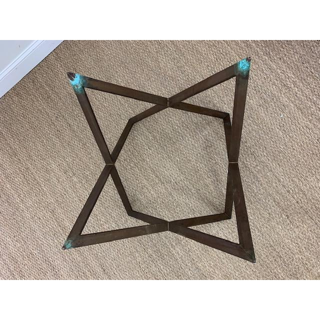 Mid Century Bronze Interlocking X Table Base For Sale - Image 9 of 12