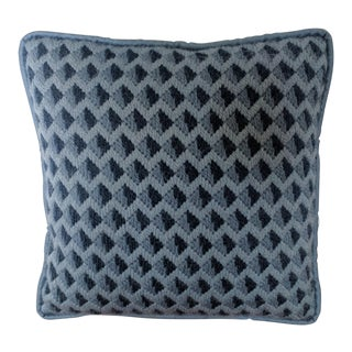 Mid Century Blue Geometric Needlepoint Bargello Pillow For Sale