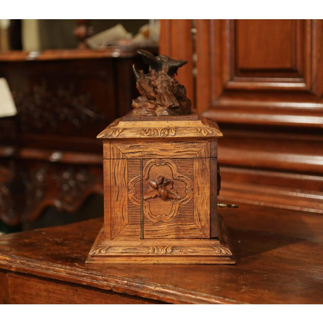 19th Century French Black Forest Carved Walnut Cave a Liqueur With Cigar Holders For Sale - Image 11 of 13