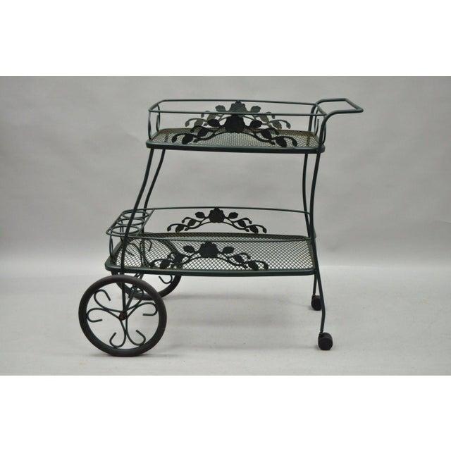 Modern Meadowcraft Dogwood Green Wrought Iron Tea Cart Rolling Bar Server Patio Garden For Sale - Image 3 of 11