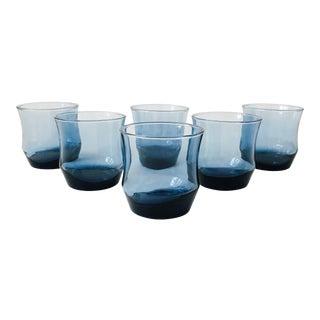 Vintage Curvy Blue Short Glasses - Set of 6 For Sale