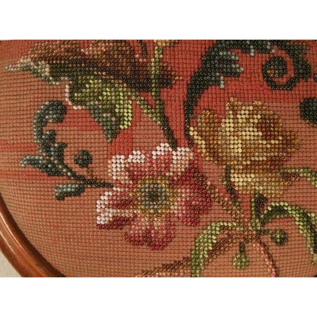Mid 19th Century Antique English Folk Art Beaded Ladies' Footstool For Sale - Image 5 of 10