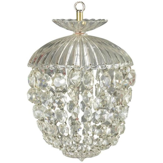 1940s French Crystal and Glass Pendant Ceiling Fixture - Image 11 of 11