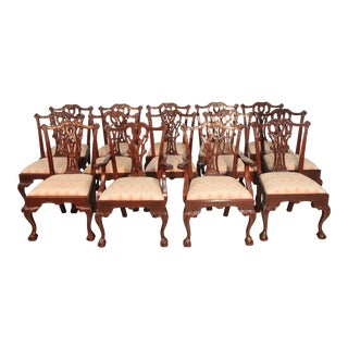 Vintage Chippendale Dining Chairs- Set of 14 For Sale