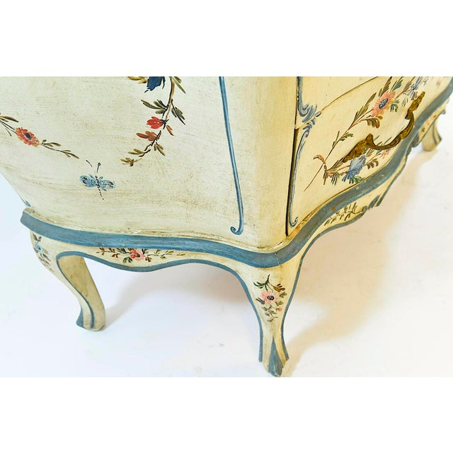 Paint 20th Century Shabby Chic Italian Floral Bombe' Chest For Sale - Image 7 of 10
