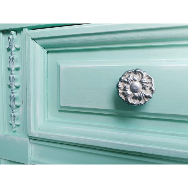 Dixie Aqua Blue Chalk Paint Writing Desk For Sale - Image 4 of 8