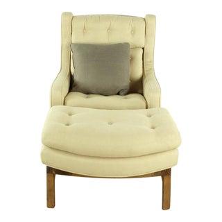 Modern Dunbar Wing Chair & Ottoman For Sale