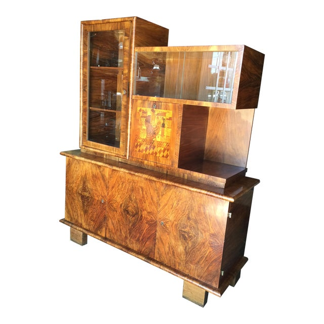 Walnut French Art Deco Bar - Image 1 of 10