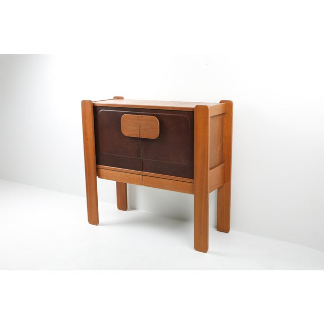 Mid-Century Modern Walnut and Leather Postmodern Cabinet For Sale - Image 3 of 8