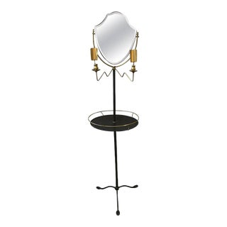 Brass & Galvanized Metal Standing Shaving Stand For Sale