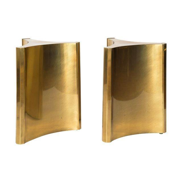 Gold MASTERCRAFT BRASS TRILOBI DINING TABLE BASES For Sale - Image 8 of 8