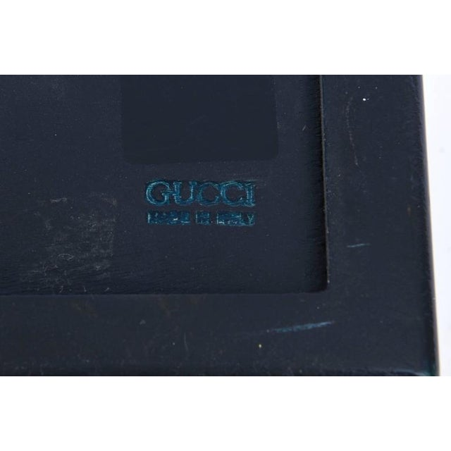 Italian Vintage Gucci Blue Lacquered and Brass Hinged Box For Sale - Image 9 of 10