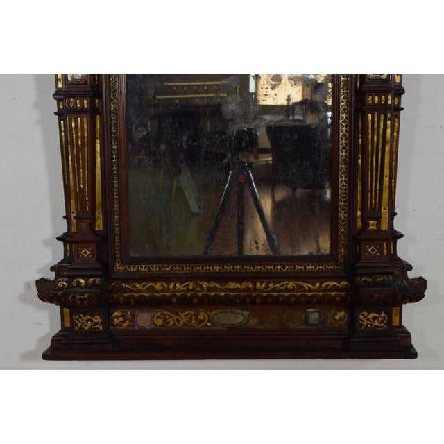 Brass Italian Rosewood and Brass Decorated Wall Mirror For Sale - Image 7 of 11