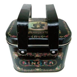 1980s Vintage Singer Sewing Machine Tin Box For Sale