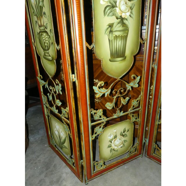 Painted Metal Room Divider/ Floor Screen or Queen Size Headboard For Sale - Image 10 of 13