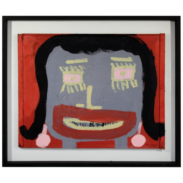 Metal Contemporary Framed Painting Portrait on Metal Signed Tyree Guyton Dated 2000s For Sale - Image 7 of 7