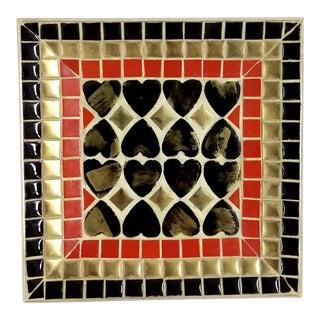 Art Deco Ceramic Heart Tile Tray