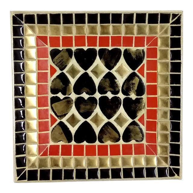 Art Deco Ceramic Heart Tile Tray - Image 1 of 8