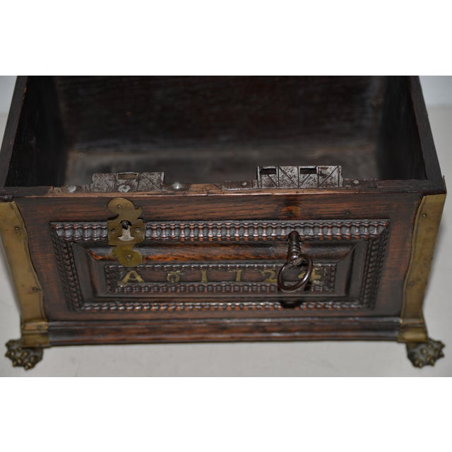 Early 18th Century Carved Walnut & Brass Alms Box C. 1724 For Sale - Image 12 of 13