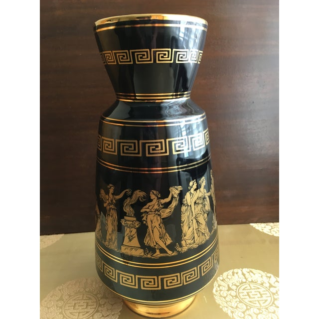 Vintage Greek Gods 24k Gold Vase For Sale - Image 4 of 11