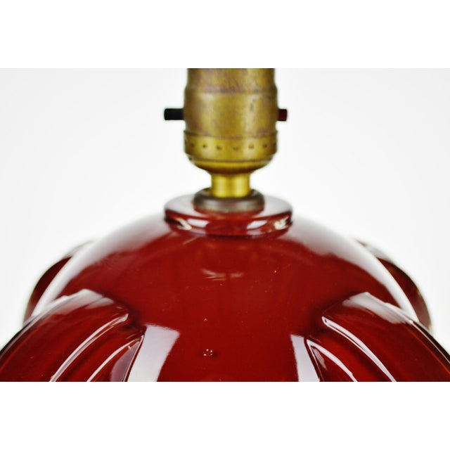 Early 20th Century Art Deco Oxblood Reverse Painted Glass Table Lamp For Sale - Image 5 of 13