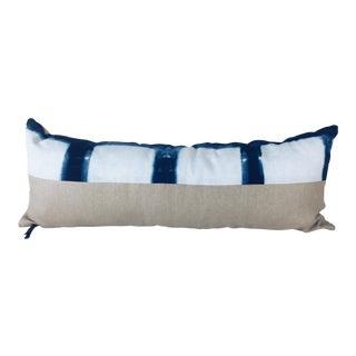 Hand-Dyed Indigo Linen Lumbar Pillow For Sale