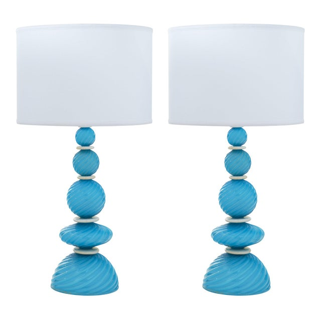 Murano Glass Turquoise Lamps For Sale - Image 10 of 10