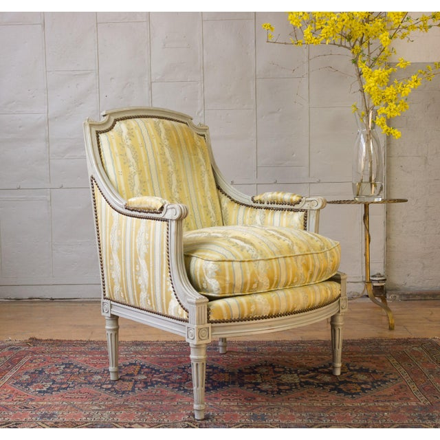 Gold Pair of French Louis XVI Style Armchairs For Sale - Image 8 of 12