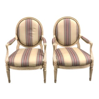 Carved Whitewashed Arm Chairs With Striped Upholstery - a Pair For Sale