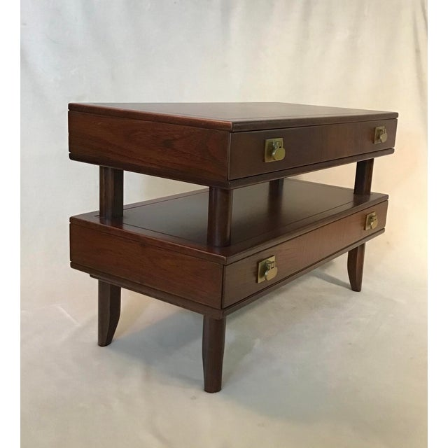 Metal Mid Century Modern Walnut Stacked Style End Table For Sale - Image 7 of 13