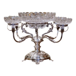 19th Century English George III Silver-Plated Over Copper and Cut-Glass Epergne For Sale